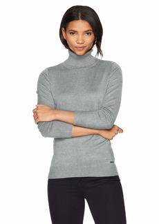 Calvin Klein Women's Solid Turtleneck  L