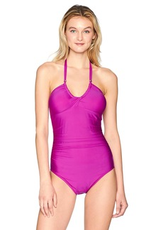 Calvin Klein Women's Solid Twist Convertible One Piece Swimsuit Tummy Control
