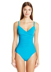 Calvin Klein Women's Solid Twist One Piece Swimsuit with Sewn in Molded Cups and Tummy Control