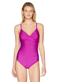 Calvin Klein Women's Solid Twist Over Shoulder One Piece Swimsuit Tummy Control