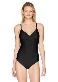 Calvin Klein Women's Solid Twist Over Shoulder one Piece Swimsuit Tummy Control