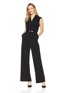Calvin Klein Women's Solid V Neck Belted Jumpsuit