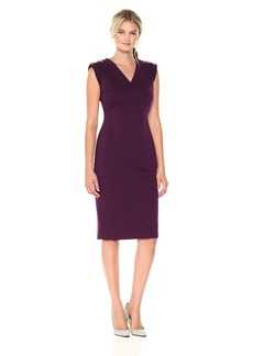 Calvin Klein Women's Solid V-Neck Midi Sheath