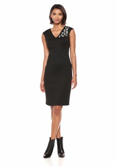 Calvin Klein Women's Solid V-Neck Sheath with Embellishment