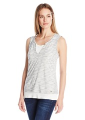 Calvin Klein Women's Spacedye Henley Top White/Black