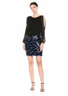 Calvin Klein Women's Split Sleeve Chiffon Blouson Dress with Embellished Skirt