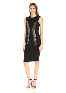 Calvin Klein Women's Square Armhole Round Neck Sheath Dress with Heatset Embellishment