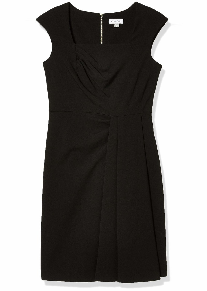 Calvin Klein Women's Square Neck Sheath with Pleated-Skirt