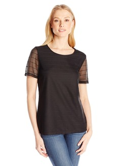 Calvin Klein Women's S/s Sheer Stripe Top  L