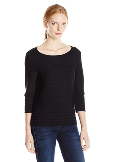 Calvin Klein Women's S/s Sweater W/ Rib Stripe