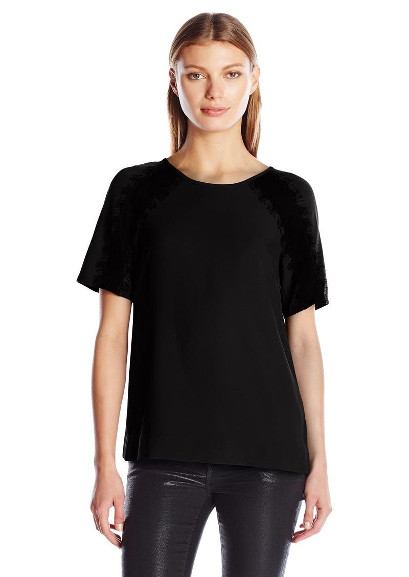 Calvin Klein Women's S/s Top W/Lace Shoulder  L