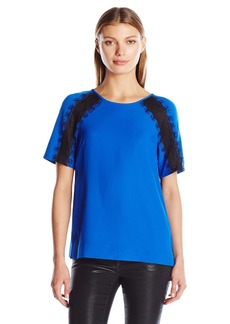 Calvin Klein Women's S/s Top with Lace Shoulder  M