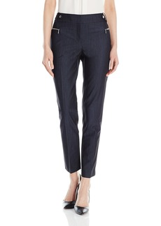 Calvin Klein Women's Straight Pant W/Buckle and Zip