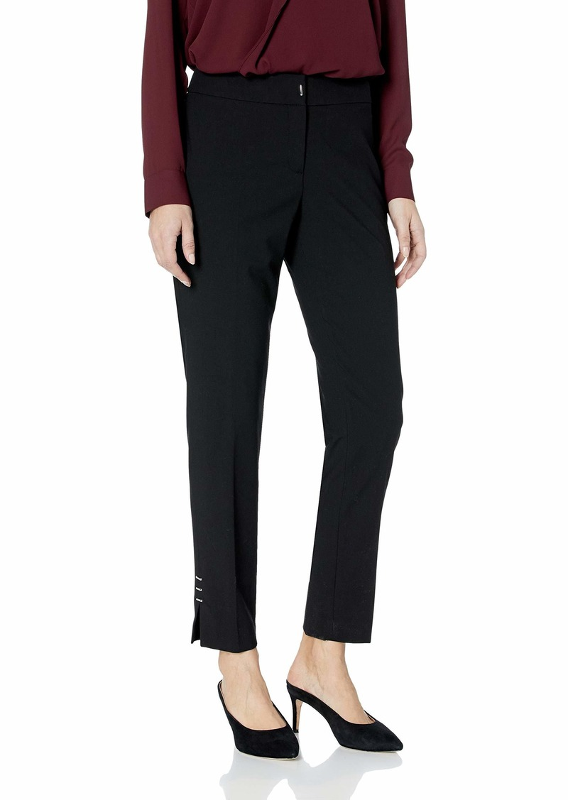 Calvin Klein Women's Straight Pant with Slit and Hardware