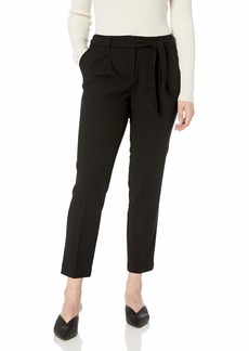 Calvin Klein Women's Straight Pant with TIE Belt black