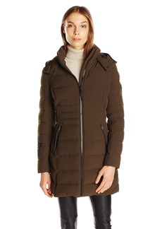 Calvin Klein Women's Stretch Mid-Length Down Puffer Coat  L