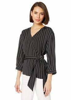 Calvin Klein Women's Stripe 3/4 Sleeve Wrap Top with Belt