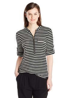 Calvin Klein Women's Stripe Zip Front Roll Sleeve Blouse ch Medium
