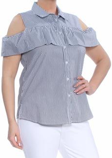 Calvin Klein Women's Striped Cold Shoulder Ruffle Blouse Black L