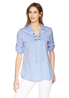 Calvin Klein Women's Striped Lace up Blouse  L