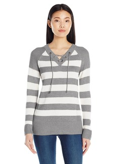 Calvin Klein Women's Striped Lace up Sweater Htr Grnite Combo 1 Heg/SW9 S
