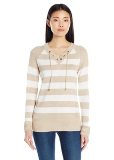 Calvin Klein Women's Striped Lace up Sweater HTR Latte/Wntr WT Strpe Hla/SW L