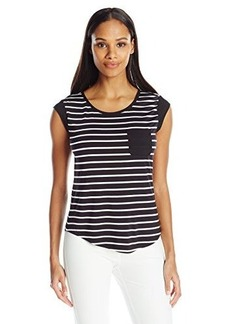 Calvin Klein Women's Striped One Pocket Tee