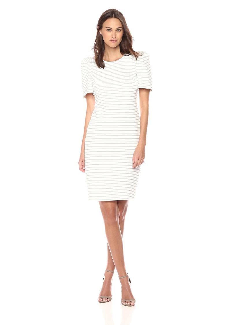 Calvin Klein Women's Striped Princess Sleeved Sheath Dress