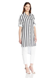 Calvin Klein Women's Striped Roll Sleeve Tunic  XS