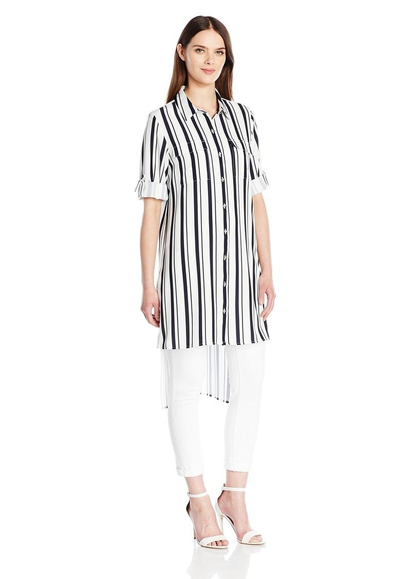 Calvin Klein Women's Striped Roll Sleeve Tunic  XS