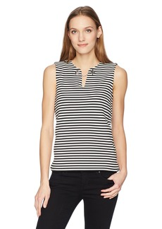 Calvin Klein Women's Striped Top with Keyhole and Chain  XS