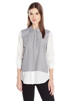 Calvin Klein Women's Striped Two-Fer Blouse  XL