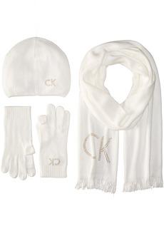Calvin Klein Women's Studded Ck Skinny Scarf/Studded Logo Beanie