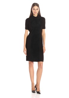 Calvin Klein Women's Suede Front Turtleneck Dress  L