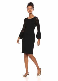 Calvin Klein Women's Sweater Dress with Crochet Knit Sleeves  L