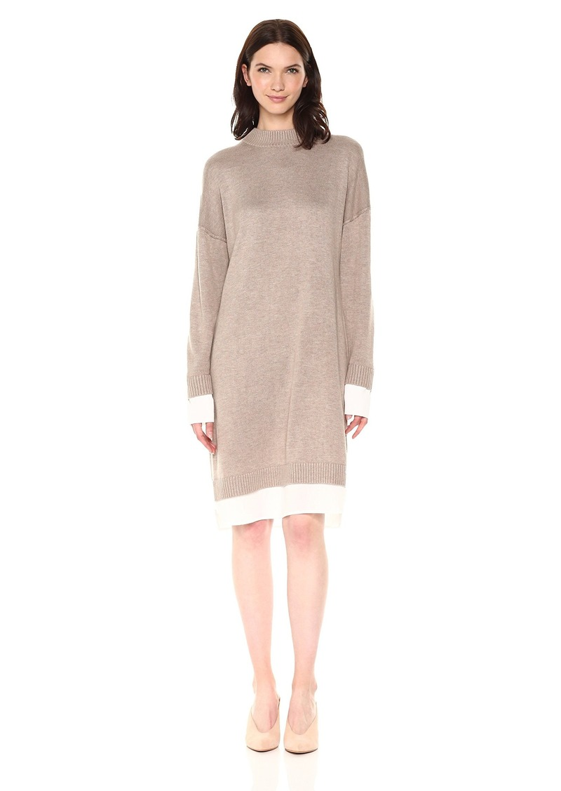 Calvin Klein Women's Sweater Dress with Shirting  L