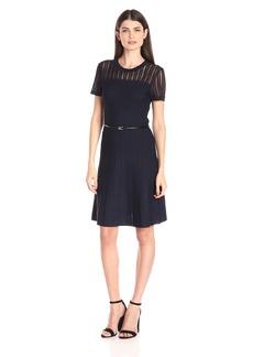Calvin Klein Women's Sweater Dress Withtextured Sleeve