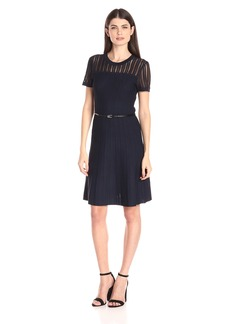 Calvin Klein Women's Sweater Dress with Textured Sleeve