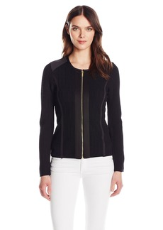 Calvin Klein Women's Sweater Jacket with Square Detail  S