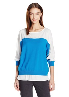 Calvin Klein Women's Sweater Top W/Woven Shirting  L