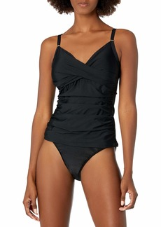 Calvin Klein Women's Tankini Swimsuit with Adjustable Straps and Tummy Control DEEP Black