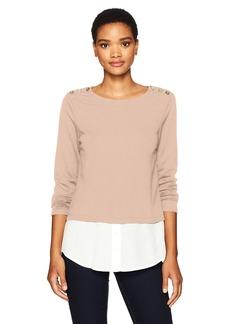 Calvin Klein Women's Texture 2fer Top With Buttons  L