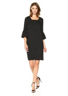 Calvin Klein Women's Texture Square Neck Flutter Sleeve Dress  M