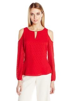 Calvin Klein Women's Textured Cold Shoulder Blouse  L