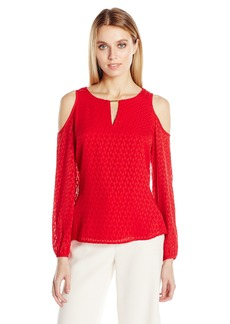 Calvin Klein Women's Textured Cold Shoulder Blouse  M