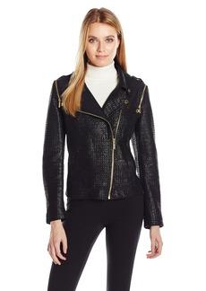 Calvin Klein Women's Textured Convertible Moto Jacket  XL
