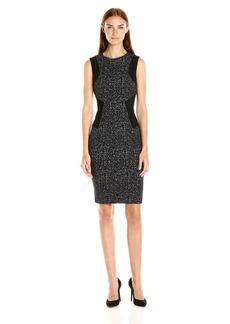 Calvin Klein Women's Textured Fabric and Suede Mix Sheath Dress