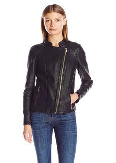 Calvin Klein Women's Textured Moto Jacket  L