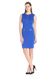 Calvin Klein Women's Textured Sheath Dress W/ Front Zip
