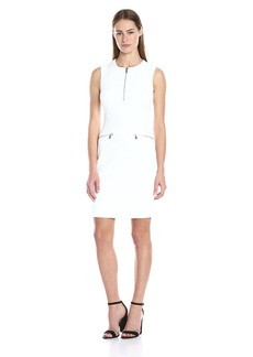 Calvin Klein Women's Textured Sheath Dress with Front Zip